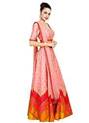 Rozdeal Designer Peach Color leriya Style Navratri Collection Lehnega Choli