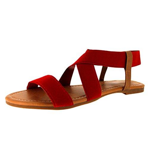 SANDALUP Women's Elastic Sandal Red Size 05
