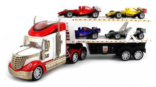 Rs-8 Racing Trailer Remote Control Truck Ready To Run Rtr W/ 4 Extra Toy Formula One F1 Cars (Colors May Vary)