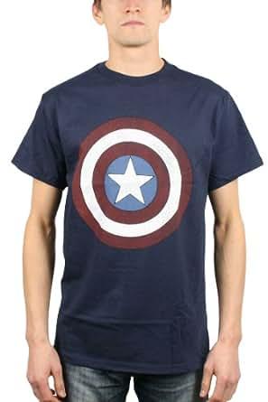 Captain America - - Logo Bouclier hommes n ° 2 T-shirt dans la Marine, XX-Large, Marine