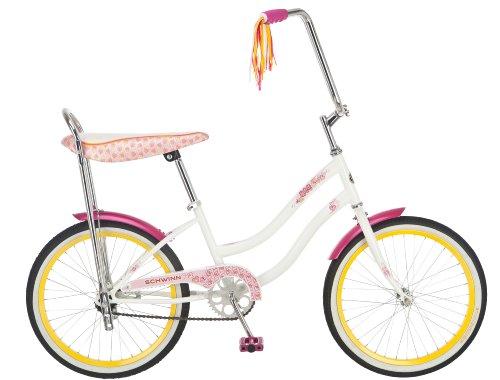 Schwinn Girl`s 20-Inch Spirit Banana Seat Polo Bike, White