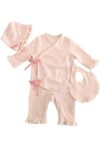 Sweet Mommy Unisex-child Fairies Organic Cotton 2 Ply Gauze Striped 3-Piece Set