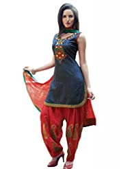 Ekvi Women's Cotton Straight Salwar Kameez (Blue)
