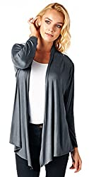 Popana Super-Soft Open Front Drape Cardigan - Large Slate Made In USA