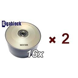 100pcs Gigablock DVD-R 16x 4.7GB 120Min Silver Inkjet Hub Printable Top