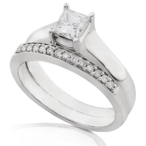 1/2ctw Princess Cut Diamond Wedding Ring Set (HI/SI-I) in 14Kt White Gold