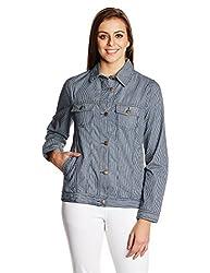 People Women's Cotton Down Jackets (P20402114976252_Indigo Striper_M)