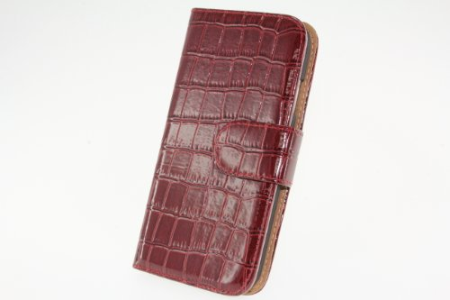 JAPAEMO Galaxy S4 (SC-04E) アニマルシリーズ クロコ柄エナメル風 レザー調 フリップ 手帳型 マグネットタイプ カードケース付き 全5色ドコモ ギャラクシーS4 ケース ワインレッド [JE01015]