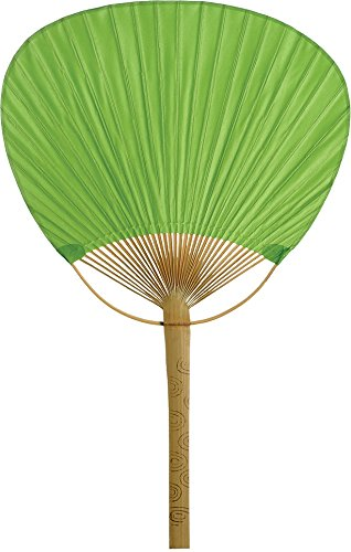 Luna Bazaar Hand-Held Paper Paddle Fan (14.5-Inch, Grass Green) - For Personal Use, Weddings, and Events