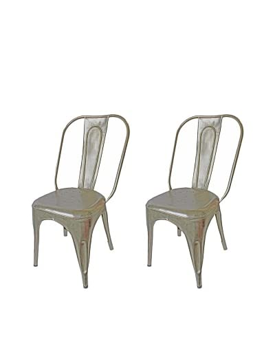 Mélange Home Set of 2 Vintage Painted Chairs, Aluminum