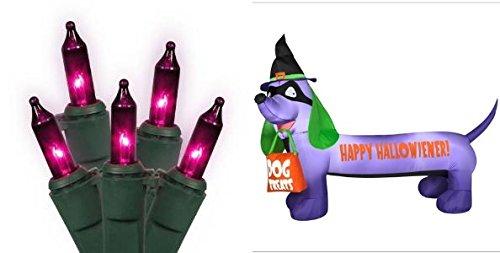 """Gemmy Inflatable Halloween Dachshund """"Halloweiner"""" Weiner Dog Yard Decor With Bonus Purple Lights! front-815225"""