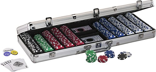 Fat Cat 11.5 Gram Texas Hold 'em Poker Chip Set with 500 Striped Dice Chips