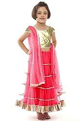 Beautifull Small Girl's Pink Lehenga Choli With Dupatta (8-10 Years) Presenting by Sixsense Retailers
