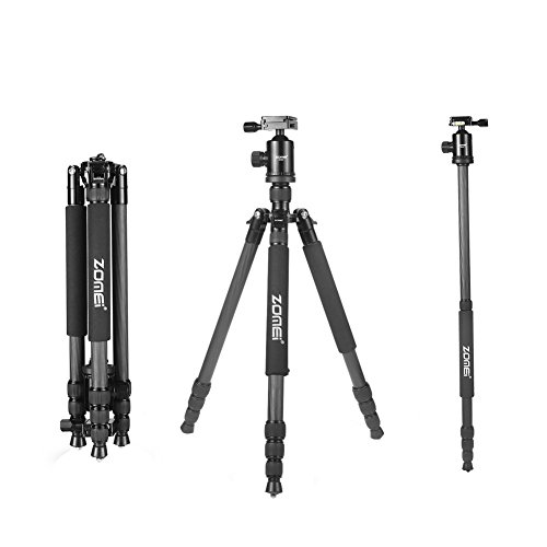 ZOMEi-Z818C-65-Inch-Height-Professional-Carbon-Fiber-4-Section-Leg-Compact-Travel-Tripod-With-Ball-Head-and-Carry-Case-For-Canon-Sony-Nikon-DSLR-Digital-Cameras