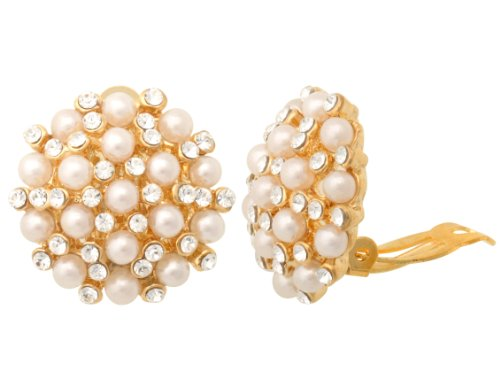 JanKuo Jewelry Gold Tone Vintage Style Glass Pearl with Cyrstal Clip On Earrings Ship in Gift Box.