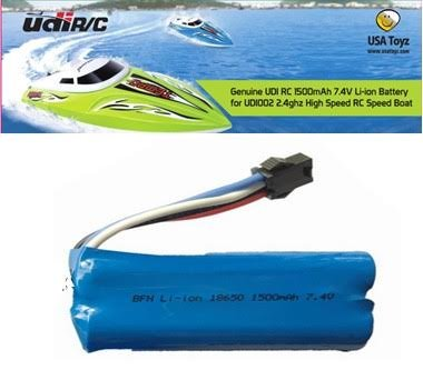 Replacement Battery for UDI R/C UDI007 Voyager / UDI002 Tempo Speed Boat 7.4V 1500mAh Rechargeable Li-ion (Geniune UDI) (Fuel X 30 Atomic compare prices)