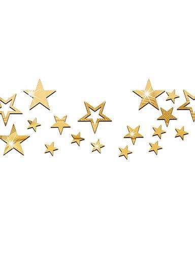 stickers-muraux-de-bricolage-etoiles-miroir-stereo-un-ensemble-de-19-gold-yuxin