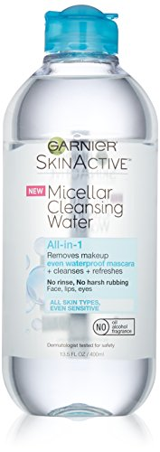 Garnier Skin Active Micellar Cleansing Water All-in-1 Cleanser and Waterproof Makeup Remover, 13.5 Fluid Ounce