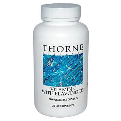 Thorne Research - Vitamin C w/ Flavonoids - Pure Ascorbic Acid Supplement with Citrus Bioflavonoids (Rutin, Hesperidin, and Quercetin) - 180 Capsules