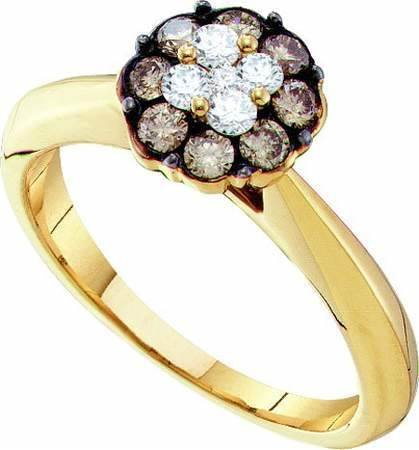 Women's White and Brown Diamond 0.50CTW 14K Yellow Gold Flower Ring GND53296