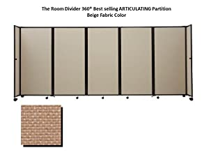 Room Divider 360 Portable Partition, Beige Fabric - 6' high x 8'6'' long