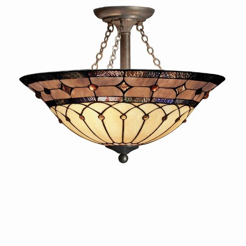 B000H6RGVS Kichler Lighting 69048 3-Light Dunsmuir Art Glass Semi-Flush Ceiling Light, Art Nouveau Bronze Finish