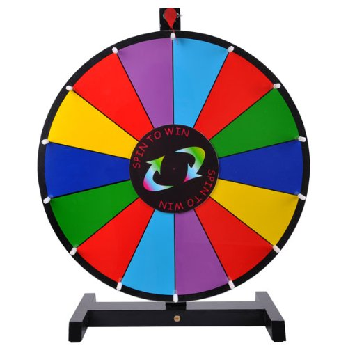 "18"" Round Tabletop Color Dry Erase Spinning Board Prize Wheel 14 Clicker Slots W/ Wood Stand Portable For Diy Custom Sheet Desk Top Carnival Crowd Drawing Game"