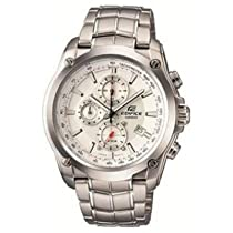 Casio EF524D-7A Mens Stainless Steel Edifice Chronograph White Dial Watch