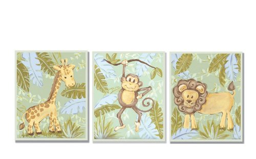 Giraffe, Monkey and Lion in the Jungle Wall Plaque Set