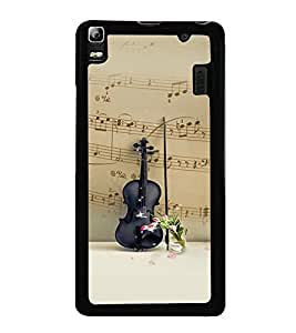 Fuson Premium 2D Back Case Cover Black stylish Violin With Brown Background Degined For Lenovo A7000