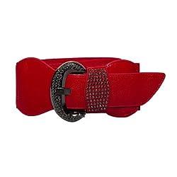 eVogues Plus Size Rhinestone Studded Leatherette Belt Red - One Size Plus