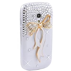 Transparent Bling Strass Diamant Bow Etui Housse Coque pour Samsung Galaxy S3 Mini i8190 + United Electek Purple Velvet Pouch