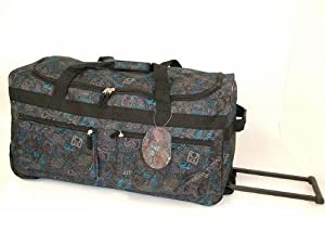 "27"" Large Black & Blue Print Lightweight Wheeled Holdall Holiday Weekend Travel Bag"
