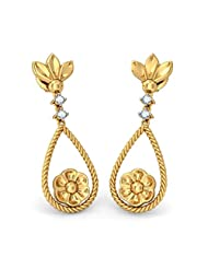 BlueStone 18k (750) Yellow Gold Diamond Drop Earrings - B00NHOBDDE