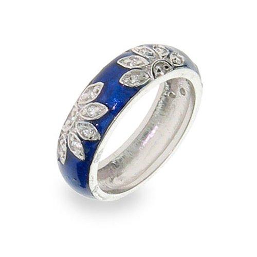 Sterling Silver Blue Enamel CZ Daisy Ring (Hidalgo Enamel Rings compare prices)