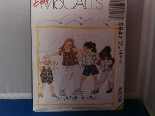 Mccall'S Sewing Pattern 5947 Girls Top Pants, Shorts Bloomers 2 3 4 front-1022903