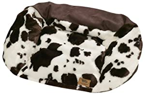 "West Paw Design Tuckered Out Premium Stuffed Dog Bed, Cow/Bison - X-Large 50"" x 32"""