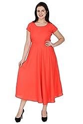 Wintage Women Boat Neck Half Sleeves Orange Solid Maxi Dress