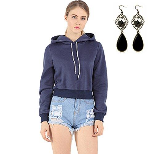 Sitengle Donna Felpe con Cappuccio Corto Sweatshirt Hoodies Pullover Casuale Manica Lunga Cappotti Maglietta Tops