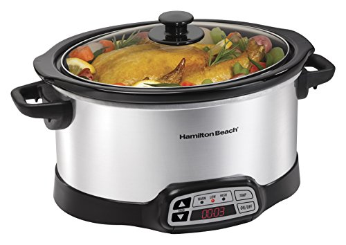 Hamilton Beach 33660 Programmable Slow Cooker, Silver, 6 quart (Crockpots With Timers compare prices)