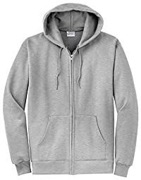 Port & Company Classic FullZip Hooded Sweatshirt-L (Charcoal),4X Big,Ash