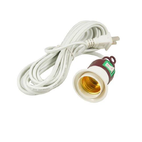 Amico 5 Meters Power Cord AC 250V 5W-150W 2 Flat Pin Plug E27 Bulb Lamp Holder Socket