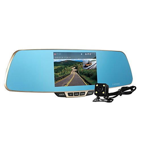 Dash Cam, Z-Edge Dual Lens Car Camera, Car Video Recorder for Vehicles Front and Rear Dvr, 5.0 Inch Screen, 1080P with 16G Micro SD Included (Back Camera For Car Mirror compare prices)