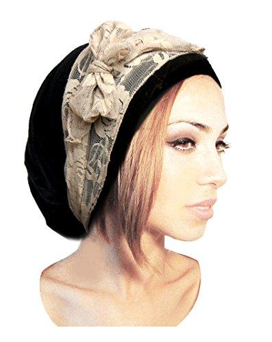 Black Pre-tied Head Scarf Boho Chic Bandana Tichel Vintage Cream Lace Wrap - 076 (Pre Tied Tichel compare prices)