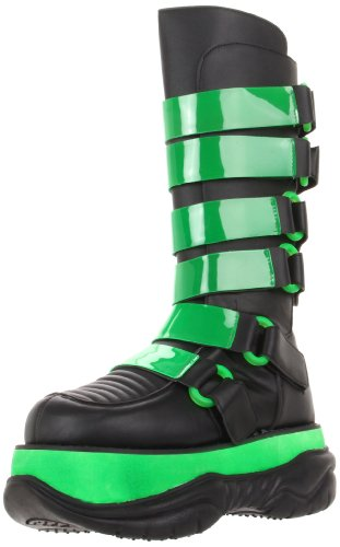 Pleaser, Men's boots, Neptune-310UV-G Boot, Black Polyurethane, UV Lime, futuristic boots, futuristic shoes, futuristic clothing, futuristic fashion, cyber fashion, cyber style, cyber boots, green boots, lime boots, cybergoth boots