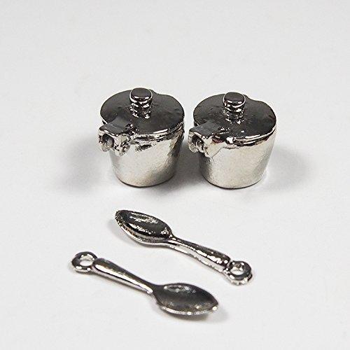 1:12 2Pcs Stainless Steel Coffee Tea Pot Salt Sugar Sauces Spoon Miniature-Small