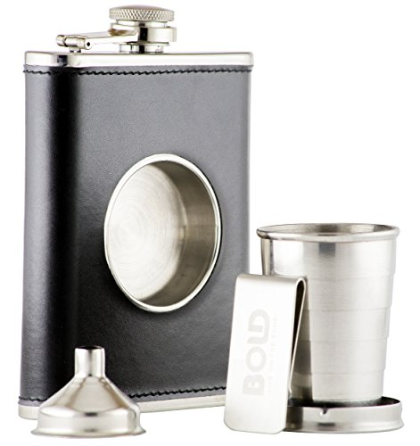 8 Oz. 304 Stainless Steel, Black Leather Hip Flask, Shot Flask with Built-in Collapsible 2 Oz. Shot Cup, Bonus Stainless Steel Funnel and Money Clip by Bold Brands (Gentleman Jack Whisky compare prices)
