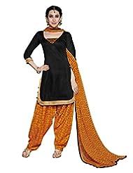 Desi Look Women's Black Cotton Patiyala Dress Material With Dupatta - B019IDWRPA
