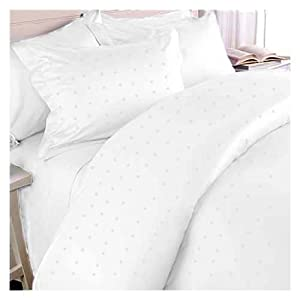 MARRIKAS 300TC Egyptian Cotton Sheet Set KING WHITE WOVEN SQUARE