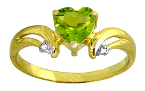 14k Solid Gold Peridot Heart Ring with Diamond Accents - Size 7